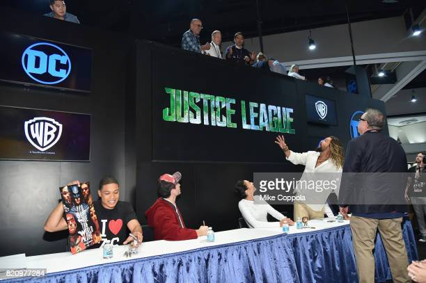 Actors Ray Fisher Ezra Miller Gal Gadot and Jason Momoa during the 'Justice League' autograph signing at ComicCon International 2017 at San Diego...