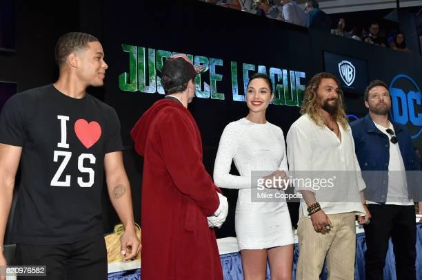 Actors Ray Fisher Ezra Miller Gal Gadot Jason Momoa and Ben Affleck during the 'Justice League' autograph signing at ComicCon International 2017 at...