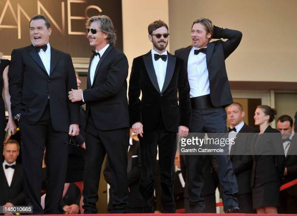 Actors Ray Liotta Ben Mendelsohn Scoot McNairy and Brad Pitt attend the 'Killing Them Softly' Premiere during 65th Annual Cannes Film Festival at...