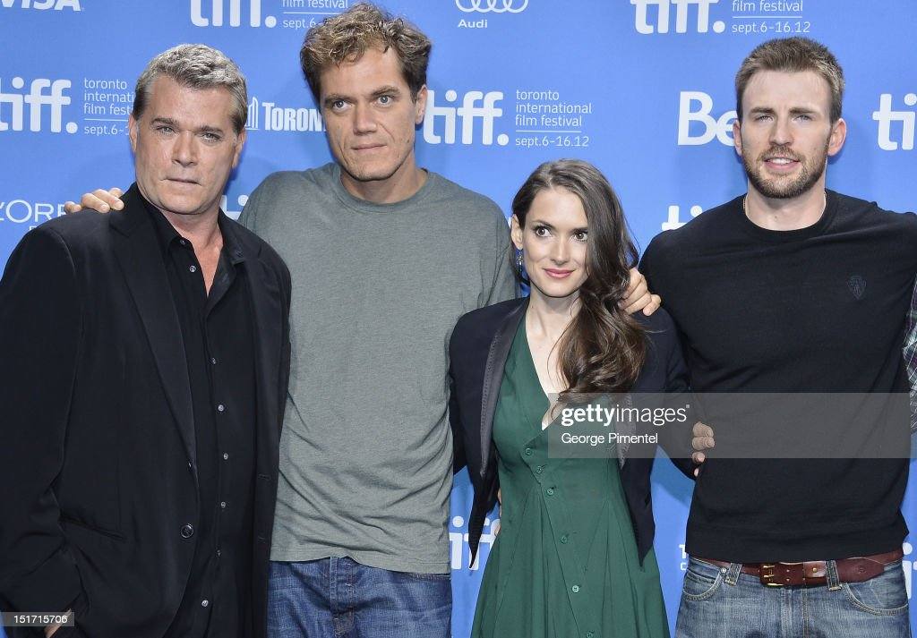 Actors Ray Liotta Michael Shannon Winona Ryder and Chris Evans attend the 'Iceman' Photo Call during the 2012 Toronto International Film Festival at...