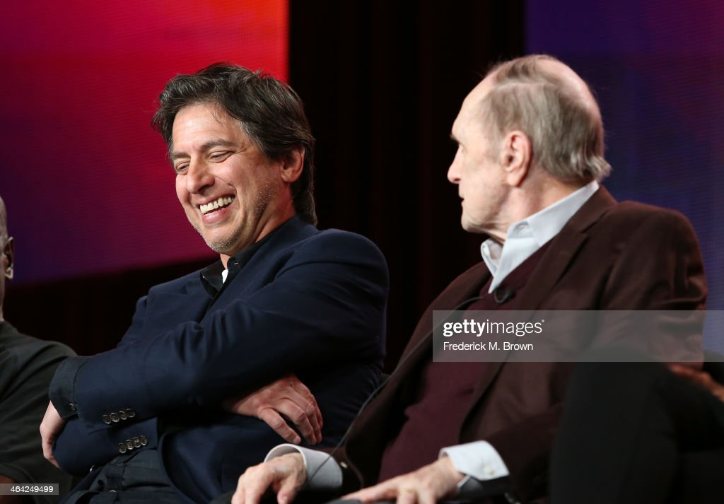 Actors <a gi-track='captionPersonalityLinkClicked' href=/galleries/search?phrase=Ray+Romano&family=editorial&specificpeople=201675 ng-click='$event.stopPropagation()'>Ray Romano</a> and <a gi-track='captionPersonalityLinkClicked' href=/galleries/search?phrase=Bob+Newhart&family=editorial&specificpeople=208111 ng-click='$event.stopPropagation()'>Bob Newhart</a> speak onstage during the 'Pioneers of Television, Season 4, 'Acting Funny', 'Breaking Barriers', 'Doctors and Nurses', and 'Standup to Sitcom' ' panel discussion at the PBS portion of the 2014 Winter Television Critics Association tour at Langham Hotel on January 21, 2014 in Pasadena, California.