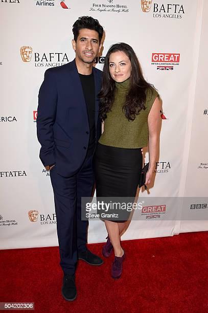 Actors Raza Jaffrey and Lara Pulver attend the BAFTA Los Angeles Awards Season Tea at Four Seasons Hotel Los Angeles at Beverly Hills on January 9...