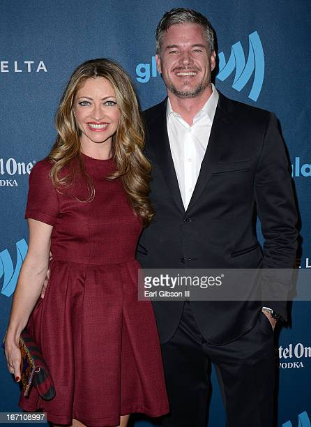 Actors Rebecca Gayheart and Eric Dane arrive at the 24th Annual GLAAD Media Awards at JW Marriott Los Angeles at LA LIVE on April 20 2013 in Los...