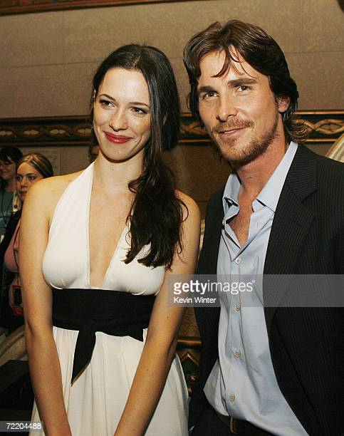 Actors Rebecca Hall and Christian Bale talk at the afterparty for the premiere of Touchstone Pictures' 'The Prestige' at the Annix on October 17 2006...