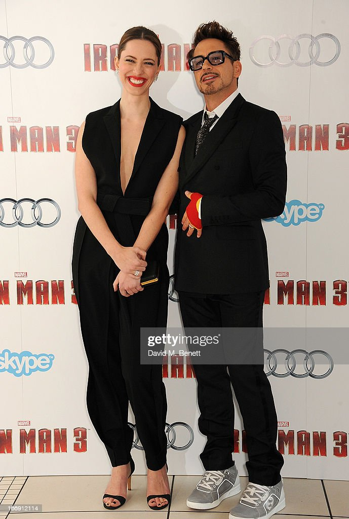 Actors <a gi-track='captionPersonalityLinkClicked' href=/galleries/search?phrase=Rebecca+Hall&family=editorial&specificpeople=778176 ng-click='$event.stopPropagation()'>Rebecca Hall</a> and Robert Downey Jr attend the 'Iron Man 3' Special Screening at the Odeon Leicester Square on April 18, 2013 in London, England.