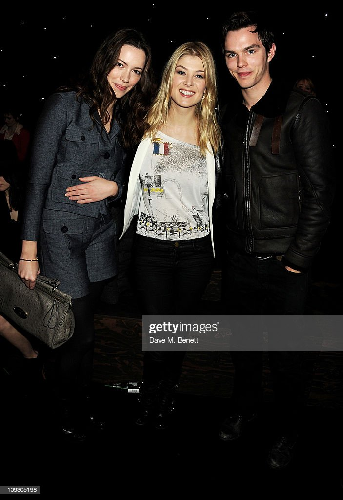 Actors Rebecca Hall, Rosamund Pike and Nicholas Hoult attend the Mulberry Salon Show at London Fashion Week Autumn/Winter 2011 at Claridge's Hotel on February 20, 2011 in London, England.