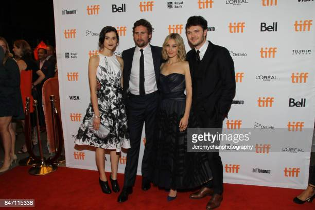 Actors Rebecca Liddiard Edward Holcroft Sarah Gadon and Kerr Logan attend the 'Alias Grace' Premiere held at Winter Garden Theatre during the 2017...