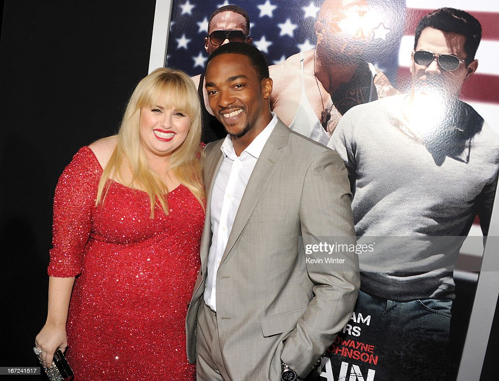 Actors <a gi-track='captionPersonalityLinkClicked' href=/galleries/search?phrase=Rebel+Wilson&family=editorial&specificpeople=5563104 ng-click='$event.stopPropagation()'>Rebel Wilson</a> (L) and <a gi-track='captionPersonalityLinkClicked' href=/galleries/search?phrase=Anthony+Mackie&family=editorial&specificpeople=206212 ng-click='$event.stopPropagation()'>Anthony Mackie</a> arrive at the premiere of Paramount Pictures' 'Pain & Gain' at TCL Chinese Theatre on April 22, 2013 in Hollywood, California.