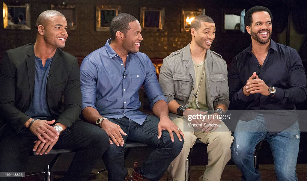 Actors Redaric Williams, Lawrence Saint Victor, Aaron D. Spears and <a gi-track='captionPersonalityLinkClicked' href=/galleries/search?phrase=Kristoff+St.+John&family=editorial&specificpeople=217523 ng-click='$event.stopPropagation()'>Kristoff St. John</a> attend Kevin Frazier hosts roundtable discussion with CBS Daytime's NAACP Award Nominees at The Sayers Club on February 14, 2014 in Hollywood, California.