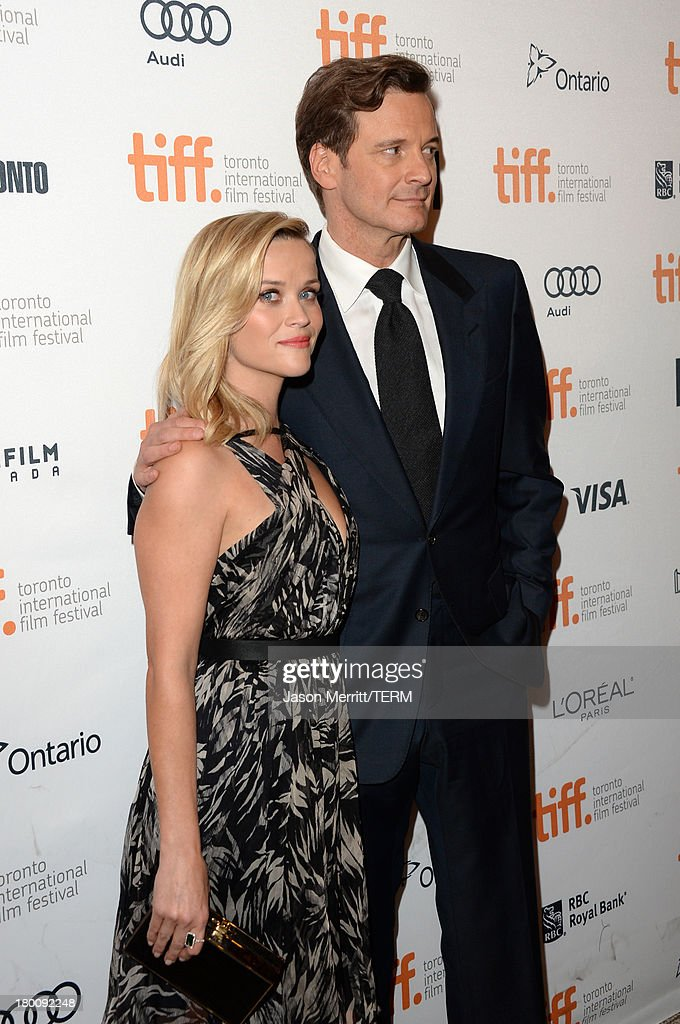 Actors <a gi-track='captionPersonalityLinkClicked' href=/galleries/search?phrase=Reese+Witherspoon&family=editorial&specificpeople=201577 ng-click='$event.stopPropagation()'>Reese Witherspoon</a> (L) and <a gi-track='captionPersonalityLinkClicked' href=/galleries/search?phrase=Colin+Firth&family=editorial&specificpeople=201620 ng-click='$event.stopPropagation()'>Colin Firth</a> attend 'The Devil's Knot' premiere during the 2013 Toronto International Film Festival at The Elgin on September 8, 2013 in Toronto, Canada.
