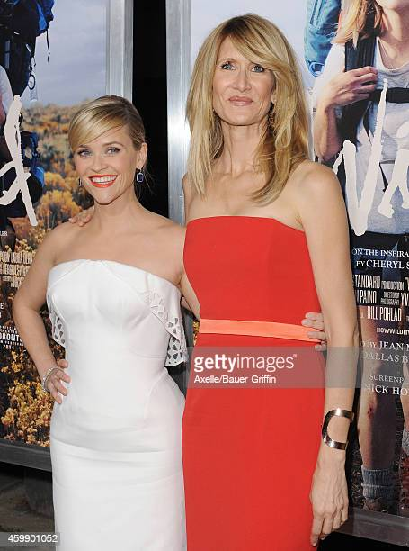 Actors Reese Witherspoon and Laura Dern arrive at the Los Angeles premiere of 'Wild' at AMPAS Samuel Goldwyn Theater on November 19 2014 in Beverly...