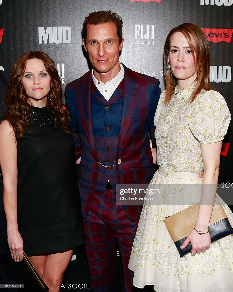 Actors Reese Witherspoon, Matthew McConaughey and Sarah Paulson attend The Cinema Society with FIJI Water & Levi's screening of 'Mud' at The Museum of Modern Art on April 21, 2013 in New York City.