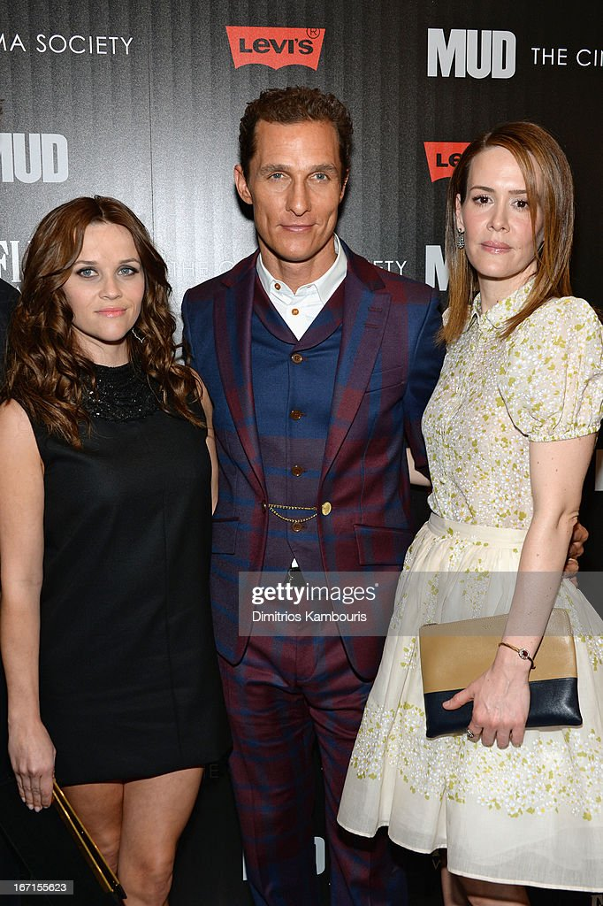 Actors Reese Witherspoon, Matthew McConaughey and Sarah Paulson attend the Cinema Society screening of 'Mud' at The Museum of Modern Art on April 21, 2013 in New York City.