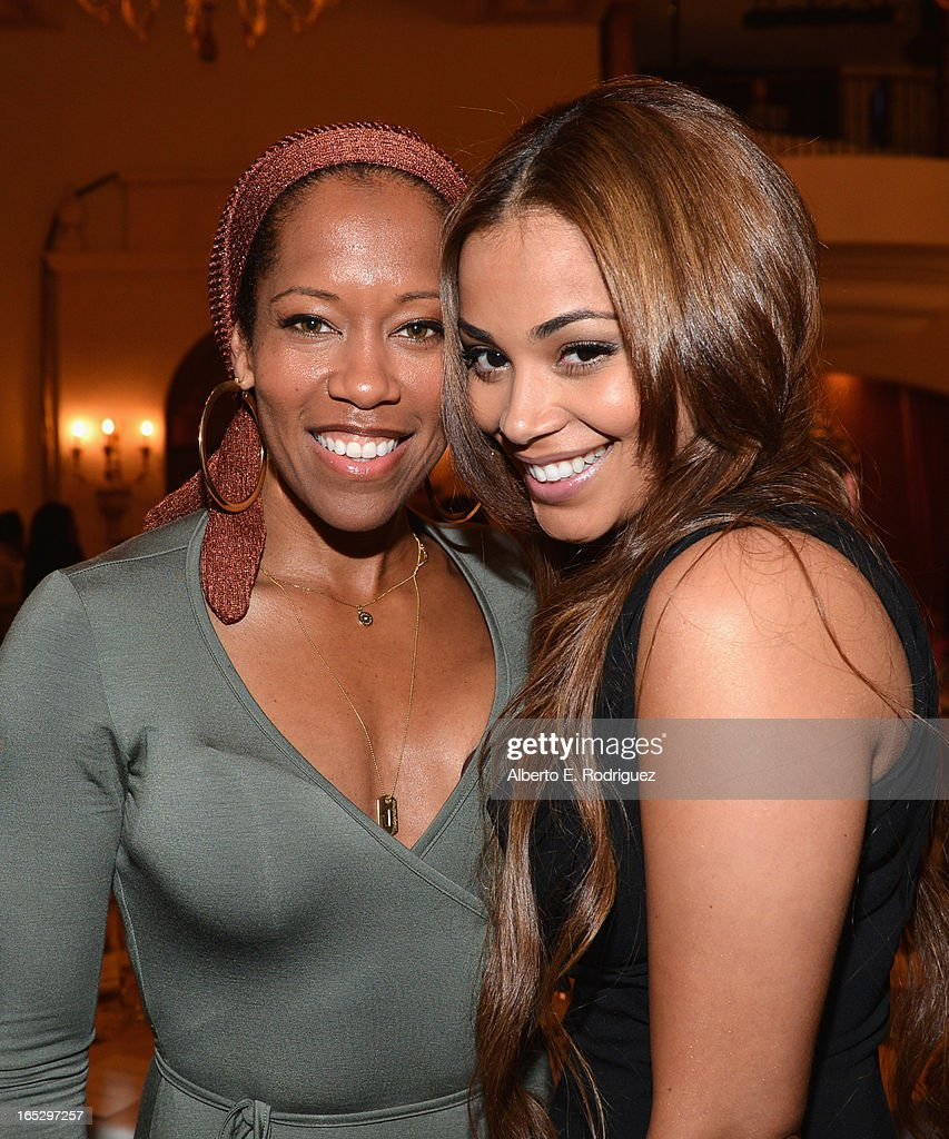 Actors Regina King and Lauren London attend the BET Networks' 2013 Los Angeles Upfront at Montage Beverly Hills on April 2, 2013 in Beverly Hills, California.