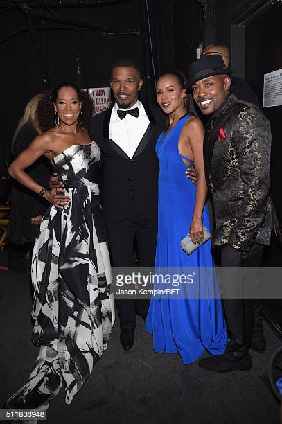 Actors Regina King Jamie Foxx and Kerry Washington and honoree Will Packer pose backstage at the 2016 ABFF Awards A Celebration Of Hollywood at The...