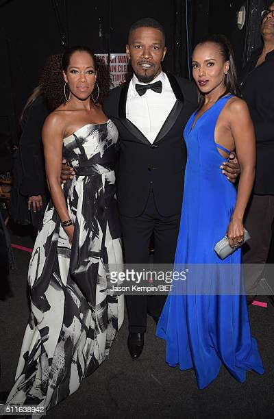Actors Regina King Jamie Foxx and Kerry Washington pose backstage at the 2016 ABFF Awards A Celebration Of Hollywood at The Beverly Hilton Hotel on...