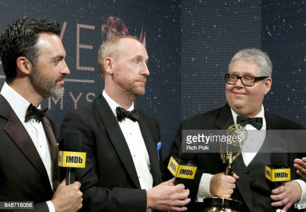 Actors Reid Scott Matt Walsh and producer David Mandelwinners of the award for Outstanding Comedy Series for 'Veep' attend IMDb LIVE After the Emmys...