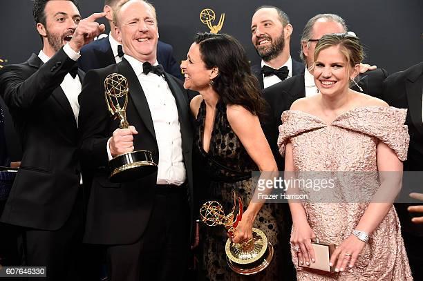Actors Reid Scott Matt Walsh Julia LouisDreyfus Tony Hale Kevin Dunn and Anna Chlumsky winners of Best Comedy Series for 'Veep' pose in the press...