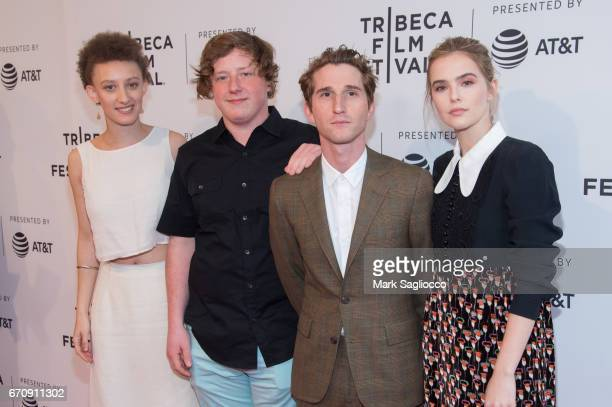 Actors Remy Byrne Joey Morgan Max Winkler and Zoey Deutch attend 'Flower' during the 2017 Tribeca Film Festival at SVA Theatre on April 20 2017 in...