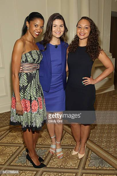 Actors Renee Elise Goldsberry Phillipa Soo and Jasmine Cephas Jones attends The 6th Annual Elly Awards at The Plaza Hotel on June 20 2016 in New York...