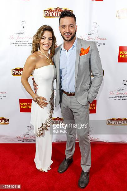 Actors Renee Marino and Jai Rodriguez arrive at the 4th Annual Jerry Herman Awards at the Pantages Theatre on June 1 2015 in Hollywood California