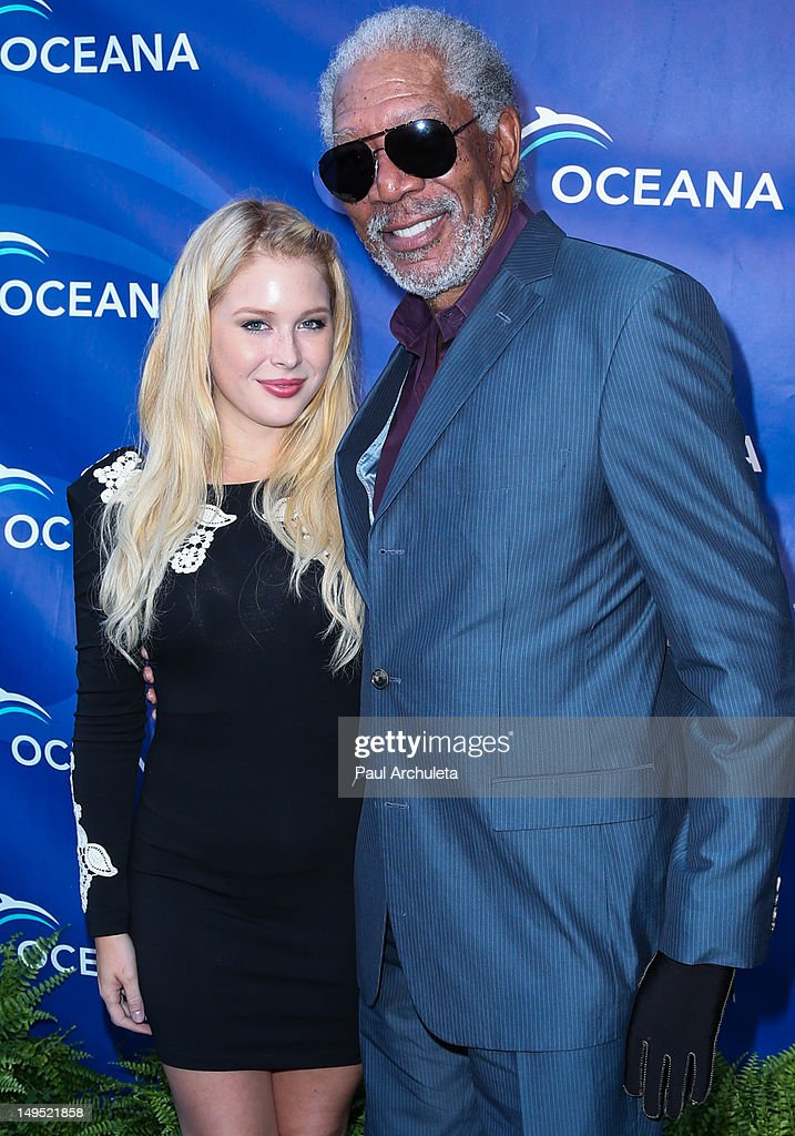 Actors Renee Olstead (L) and Morgan Freeman (R) attend the 2012 Oceana's SeaChange summer party on July 29, 2012 in Laguna Beach, California.