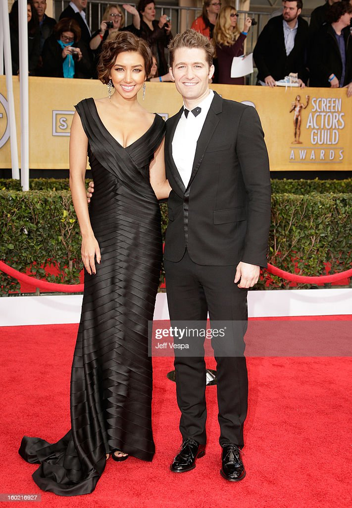 Actors Renee Puente and Matthew Morrison arrive at the19th Annual Screen Actors Guild Awards held at The Shrine Auditorium on January 27, 2013 in Los Angeles, California.