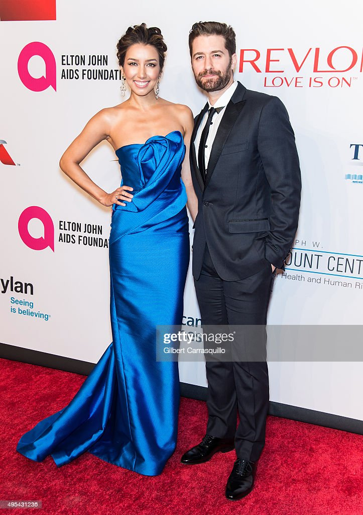 Actors Renee Puente and Matthew Morrison attend Elton John AIDS Foundation's 14th Annual An Enduring Vision Benefit at Cipriani Wall Street on...