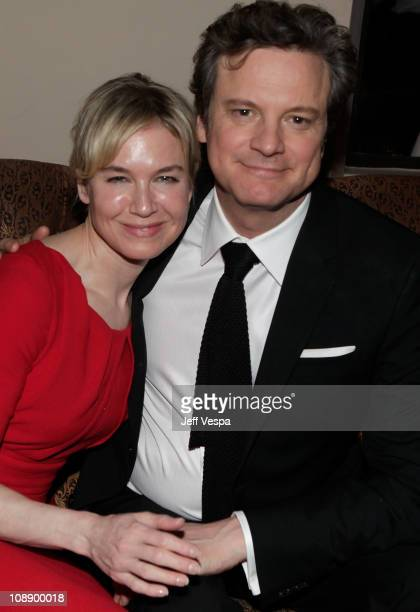 Actors Renee Zellweger and Colin Firth attend the Audi celebrates 'The King's Speech' awards season party held at Chateau Marmont on February 7 2011...