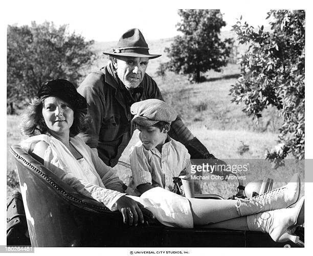 Actors RG Armstrong Whit Clay and actress Brenda Vaccaro on set of the Universal Studios movie ' Fast Charlie the Moonbeam Rider' in 1979