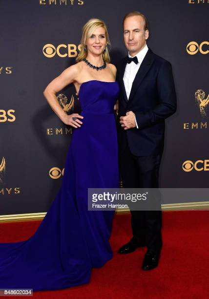 Actors Rhea Seehorn and Bob Odenkirk attend the 69th Annual Primetime Emmy Awards at Microsoft Theater on September 17 2017 in Los Angeles California