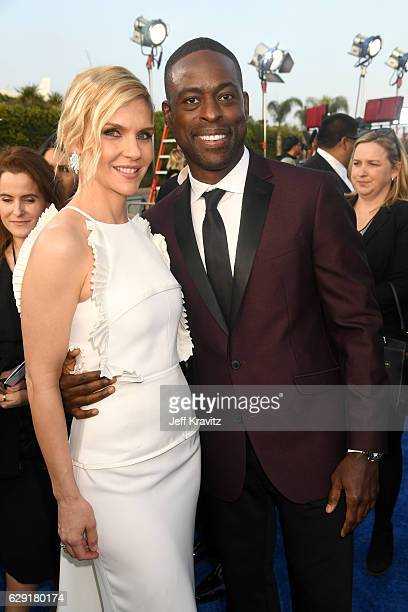 Actors Rhea Seehorn and Sterling K Brown attend The 22nd Annual Critics' Choice Awards at Barker Hangar on December 11 2016 in Santa Monica California