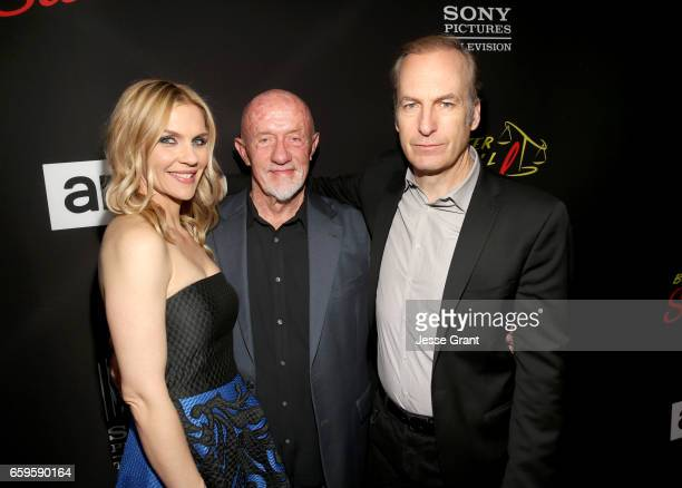 Actors Rhea Seehorn Jonathan Banks and Bob Odenkirk attend AMC's 'Better Call Saul' season 3 premiere at ArcLight Cinemas on March 28 2017 in Culver...