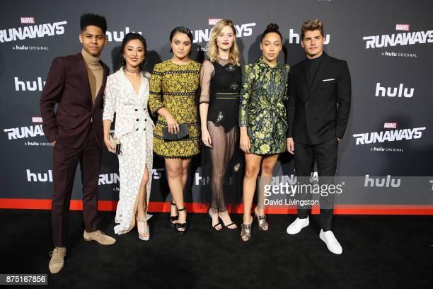 Actors Rhenzy Feliz Lyrica Okano Ariela Barer Virginia Gardner Allegra Acosta and Gregg Sulkin arrive at the premiere of Hulu's 'Marvel's Runaways'...