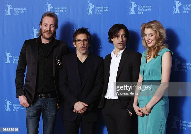 Actors Rhys Ifans Ben Stiller director Noah Baumbach and actress Greta Gerwig attend the 'Greenberg' Photocall during day four of the 60th Berlin...