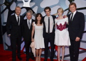 Actors Rhys Ifans Martin Sheen Sally Field Andrew Garfield Emma Stone and Denis Leary arrives at the premiere of Columbia Pictures' 'The Amazing...