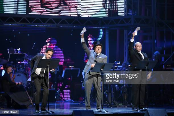 Actors Ric Salinas Richard Montoya and Herbert Siguenza perform onstage at the Center Theatre Group 50th Anniversary Celebration at Ahmanson Theatre...