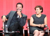 Actors Ricardo Chavira and Justina Machado speak onstage during the 'Welcome to the Family' panel discussion at the NBC portion of the 2013 Summer...