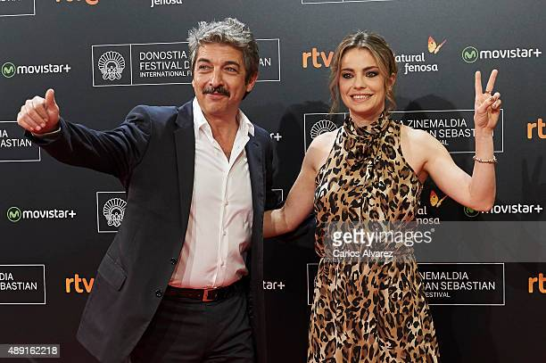 Actors Ricardo Darin and Dolores Fonzi attend 'Truman' premiere during 63rd San Sebastian Film Festival at the Kursaal Palace on September 19 2015 in...