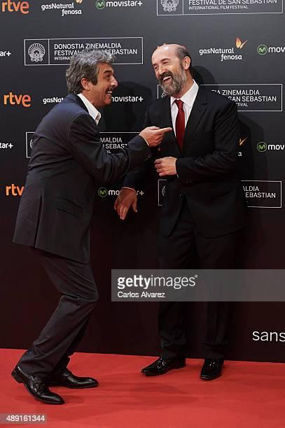 Actors Ricardo Darin and Javier Camara attend 'Truman' premiere during 63rd San Sebastian Film Festival at the Kursaal Palace on September 19 2015 in...