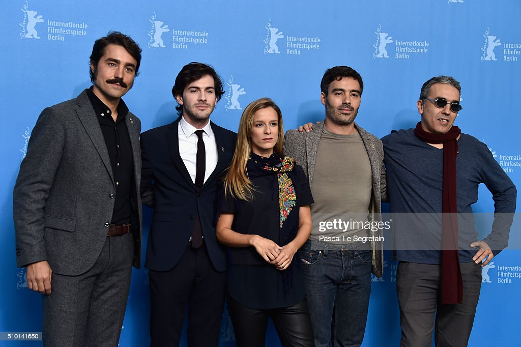 Director Ivo Ferreira, actor <a gi-track='captionPersonalityLinkClicked' href=/galleries/search?phrase=Miguel+Nunes&family=editorial&specificpeople=3670164 ng-click='$event.stopPropagation()'>Miguel Nunes</a>, actress Margarida Vila-Nova, actor Ricardo Pereira and producer Luis Urbano attend the 'Letters from War' (Cartas da guerra) photo call during the 66th Berlinale International Film Festival Berlin at Grand Hyatt Hotel on February 14, 2016 in Berlin, Germany.
