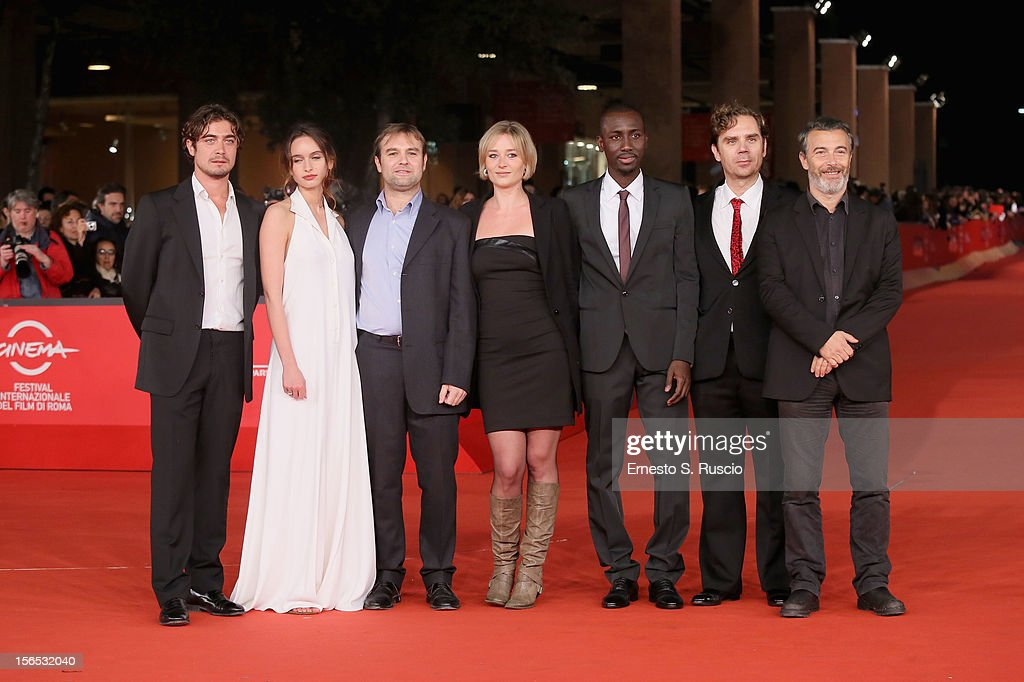Actors <a gi-track='captionPersonalityLinkClicked' href=/galleries/search?phrase=Riccardo+Scamarcio&family=editorial&specificpeople=816804 ng-click='$event.stopPropagation()'>Riccardo Scamarcio</a>, Clara Ponsot, director Francesco Amato and actors Giorgia Salari, Souleymane Sow, guest and Paolo Sassanelli attends the 'Cosimo E Nicole' Premiere during the 7th Rome Film Festival at Auditorium Parco Della Musica on November 16, 2012 in Rome, Italy.