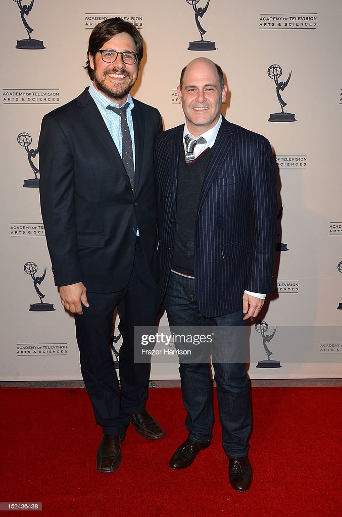 Actors <a gi-track='captionPersonalityLinkClicked' href=/galleries/search?phrase=Rich+Sommer&family=editorial&specificpeople=4406963 ng-click='$event.stopPropagation()'>Rich Sommer</a> and <a gi-track='captionPersonalityLinkClicked' href=/galleries/search?phrase=Matthew+Weiner&family=editorial&specificpeople=4148376 ng-click='$event.stopPropagation()'>Matthew Weiner</a> arrives at The Academy Of Television Arts & Sciences Writer Nominees' 64th Primetime Emmy Awards Reception at Academy of Television Arts & Sciences on September 20, 2012 in North Hollywood, California.