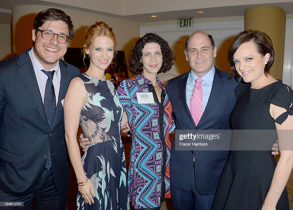 Actors <a gi-track='captionPersonalityLinkClicked' href=/galleries/search?phrase=Rich+Sommer&family=editorial&specificpeople=4406963 ng-click='$event.stopPropagation()'>Rich Sommer</a>, <a gi-track='captionPersonalityLinkClicked' href=/galleries/search?phrase=January+Jones&family=editorial&specificpeople=212949 ng-click='$event.stopPropagation()'>January Jones</a>, architect Linda Brettler, producer <a gi-track='captionPersonalityLinkClicked' href=/galleries/search?phrase=Matthew+Weiner&family=editorial&specificpeople=4148376 ng-click='$event.stopPropagation()'>Matthew Weiner</a> and actress <a gi-track='captionPersonalityLinkClicked' href=/galleries/search?phrase=Elisabeth+Moss&family=editorial&specificpeople=3079265 ng-click='$event.stopPropagation()'>Elisabeth Moss</a> arrive at the 41st Annual Peace Over Violence Humanitarian Awards held at Beverly Hills Hotel on October 26, 2012 in Beverly Hills, California.