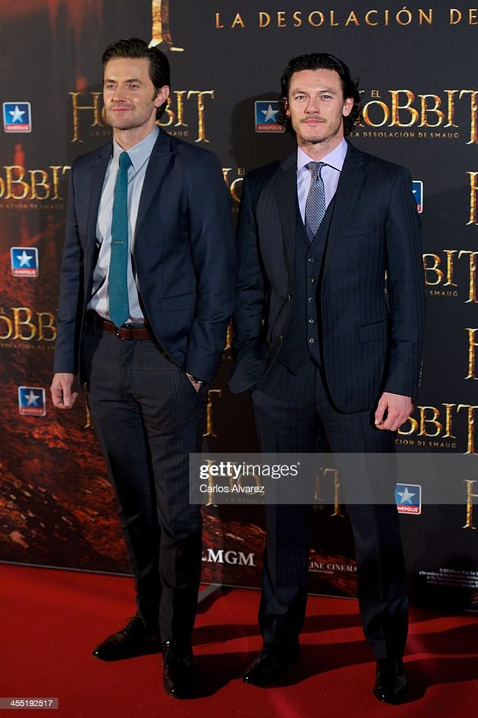 Actors Richard Armitage (L) and Luke Evans (R) attend the 'The Hobbit: The Desolation of Smaug' (El Hobbit: La desolacion De Smaug) premiere at the Kinepolis cinema on December 11, 2013 in Madrid, Spain.