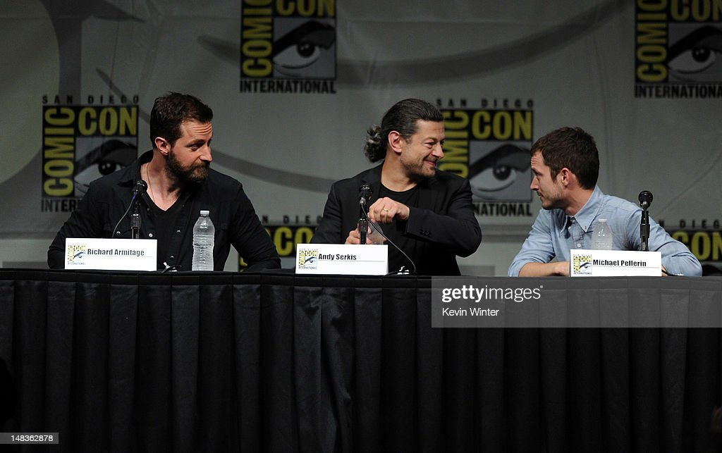 Actors Richard Armitage Andy Serkis and Elijah Wood speak at Warner Bros Pictures and Legendary Pictures Preview of 'The Hobbit An Unexpected...