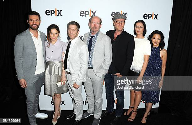 Actors Richard Armitage Mina Tander Leland Orser Richard Jenkins Rhys Ifans Michelle Forbes and Tamlyn Tomita of 'Berlin Station' attend the EPIX TCA...
