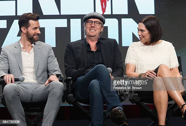 Actors Richard Armitage Rhys Ifans and Michelle Forbes speak onstage during the 'Berlin Station' panel discussion at the EPIX portion of the 2016...