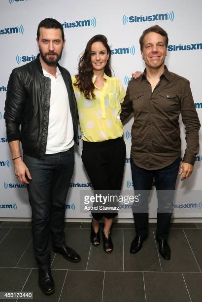 Actors Richard Armitage Sarah Wayne Callies and director Steven Quale visit the SiriusXM Studios on August 4 2014 in New York City