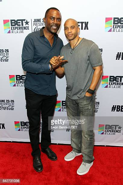 Actors Richard Brooks and Aaron D Spears attend the VIP late night kick off party during the 2016 BET Experience at the Conga Room on June 23 2016 in...